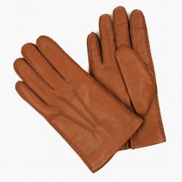 Светло-коричневые перчатки ручной работы из овчины с подкладкой АКЦЕНТ