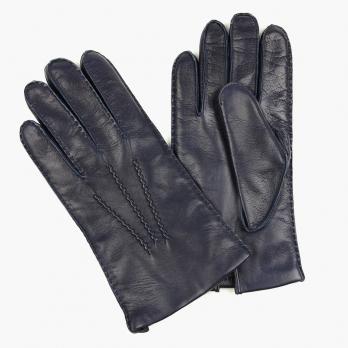 Темно-синие перчатки ручной работы из овчины с подкладкой АКЦЕНТ