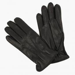 Черные перчатки из оленьей кожи с подкладкой АКЦЕНТ