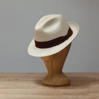 Светлая панама трилби K.DORFZAUN с коричневой лентой