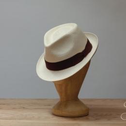 Светлая панама трилби K.DORFZAUN с коричневой лентой (плетение в елочку)