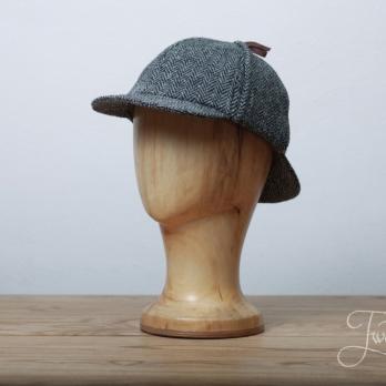 Серая твидовая шляпа Шерлока Холмса в ёлочку HANNA HATS