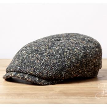 Чёрно-зелёная твидовая кепка шестиклинка Stetson Donegal