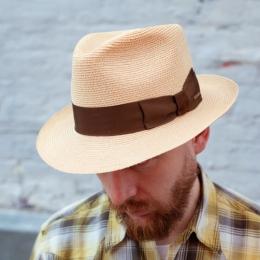 Шляпа-федора натурального цвета из конопляной соломы STETSON