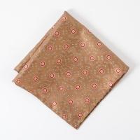 Brown medalion silk Pocket Square