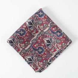 Красный платок с растительным орнаментом FOUR-IN-HAND