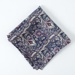 Синий платок с растительным орнаментом FOUR-IN-HAND