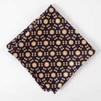 Navy medalion silk Pocket Square
