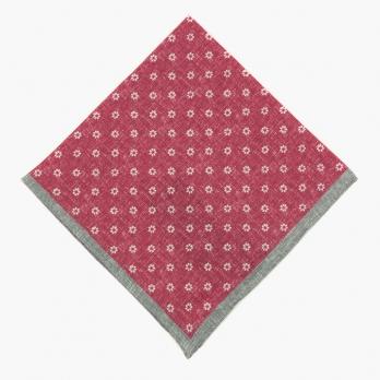Малиново-красный льняной платок ELEVENTY с цветочным рисунком