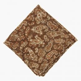Коричневый шерстяной платок с узором пейсли FOUR-IN-HAND