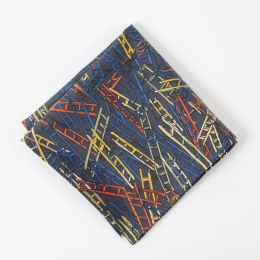 """Темно-синий платок с многоцветным узором """"Лестницы"""" FOUR-IN-HAND"""