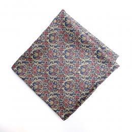 Синий платок с мелким растительным орнаментом  FOUR-IN-HAND