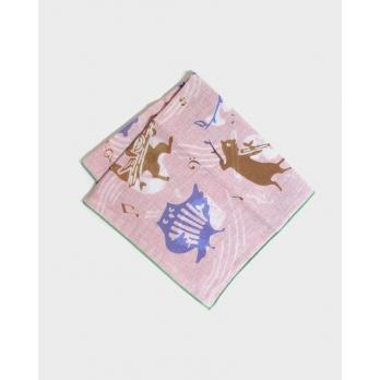 Двусторонний хлопковый платок KIRIKO Musical Animals