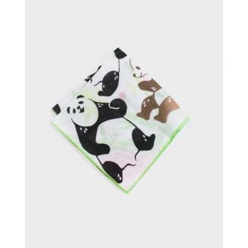 Двусторонний хлопковый платок KIRIKO Panda & Bamboo