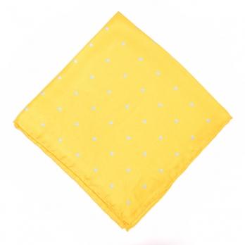 Желтый шелковый нагрудный платок MICHELSONS в голубой горошек