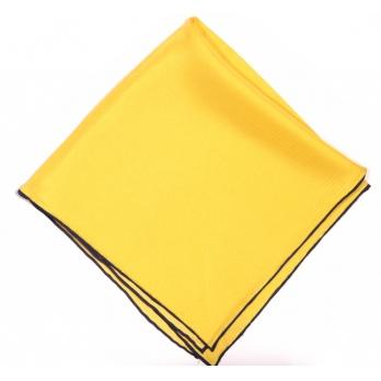 Желтый шелковый нагрудный платок MICHELSONS с синей окантовкой