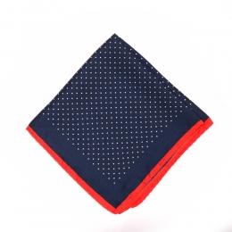 Синий шелковый платок в горошек MICHELSONS с красной окантовкой