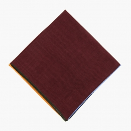Бордовый платок из шерсти и шелка с цветными кромками VARSUTIE