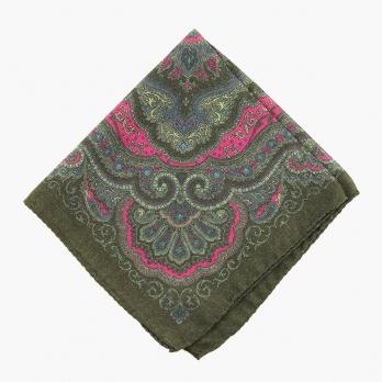 Зеленый шерстяной платок с фантазийным узором VARSUTIE