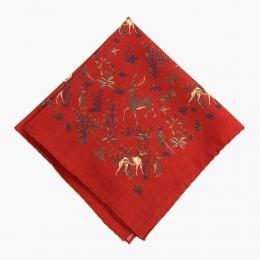 Красный платок с анималистическим орнаментом VARSUTIE