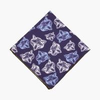 """Синий шёлковый платок с узором """"Foxes"""" VARSUTIE"""