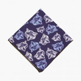 "Синий шёлковый платок с узором ""Медведи"" VARSUTIE"