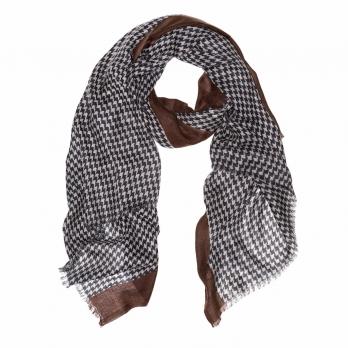 Серо-коричневый шерстяной шарф в ломаную клетку FUUXXI