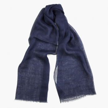 Темно-синий льняной шарф FOUR-IN-HAND