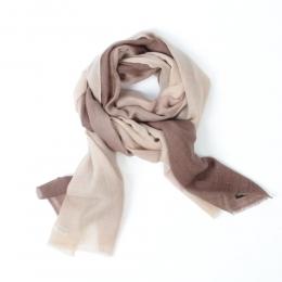 Тонкий бежевый с градиентом кашемировый шарф FOUR-IN-HAND