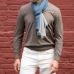 Двухцветный кашемировый шарф в серых и бирюзово-синих тонах FOUR-IN-HAND