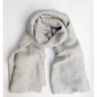 Лёгкий серый шарф из шёлка и льна FOUR-IN-HAND