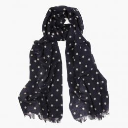 Синий кашемировый шарф FOUR-IN-HAND в горошек