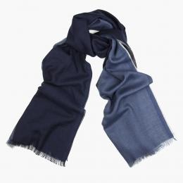 Четырехцветный кашемировый шарф в синих и серых тонах FOUR-IN-HAND