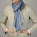 Четырехлепестковый кашемировый шарф в синих и серых тонах FOUR-IN-HAND
