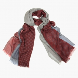 Четырехцветный кашемировый шарф в бордовых, серых и голубых тонах FOUR-IN-HAND