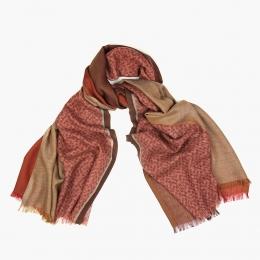 Четырехцветный кашемировый шарф в карминно-красных и бежевых тонах FOUR-IN-HAND