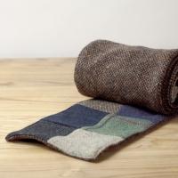 Лоскутно-коричневый твидовый шарф HANNA HATS