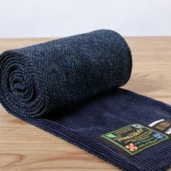 Синий двусторонний шарф из твида и вельвета HANNA HATS