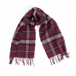 Бордовый клетчатый шарф JOHN HANLY #243