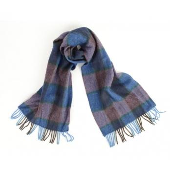 Клетчатый шарф в синих и фиолетовых тонах JOHN HANLY #225