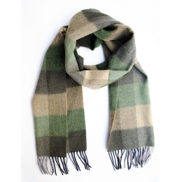 Шерстяной клетчатый шарф в зеленых и бежевых тонах #528 JOHN HANLY