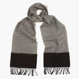 Серо-бежевый в ёлочку шерстяной шарф JOHN HANLY #1947