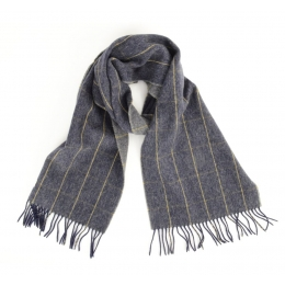 Двусторонний серый клетчатый шарф JOHN HANLY #544