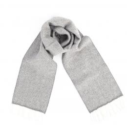 Серый в ёлочку шарф из шерсти и кашемира JOHN HANLY #2421