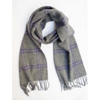 Шерстяной серый шарф в тонкую фиолетовую клетку #521 JOHN HANLY