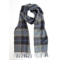 Шерстяной клетчатый шарф в синих и серых тонах #1904 JOHN HANLY
