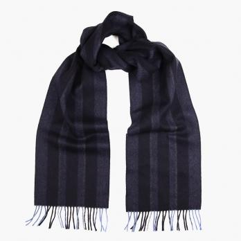 Синий в полоску шарф из шерсти и кашемира JOHN HANLY #8025