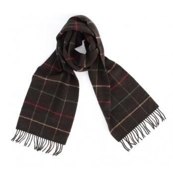 Темно-коричневый клетчатый шарф из шерсти и кашемира JOHN HANLY #8028