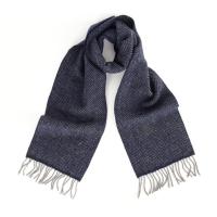 Темно-синий в ёлочку шарф JOHN HANLY #2425