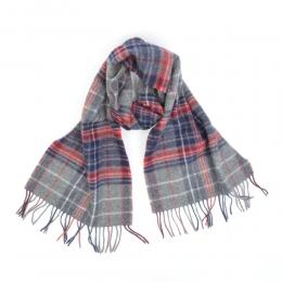 Серый шерстяной шарф в красно-синюю клетку #232 JOHN HANLY